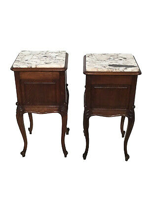 Antique Pair of French Provincial Night Stands, Marble Top, Oak, 1920's