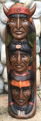 Totem Pole / Wooden Totem Pole / Hand Carved Statues / Man Cave Statues / Wood