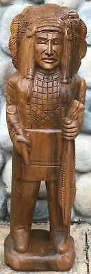 """Cigar Store In-Gin Statue / 40"""" Mahogany Wood Hand Carved In-Gin Statue / Paint"""