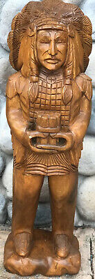 """Cigar Store In-Gin Statue / 40"""" Mahogany Wood Hand Carved In-Gin Statue / Wood"""