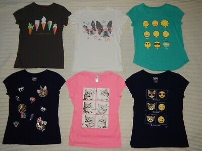 Lot of 6 JUSTICE/Cat & Jack ― Girls 10/12 ― Graphic T-Shirts #328B *6 SHIRT LOT*
