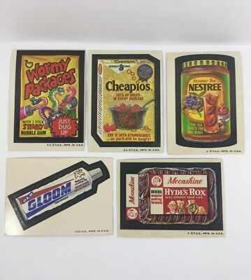 Vintage Topps Wacky Packages Trading Cards Lot Of 5 Stickers Funny Cards 1970's