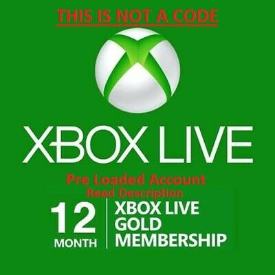 (Account Read Description) Xbox One 12 Month Live Gold Membership