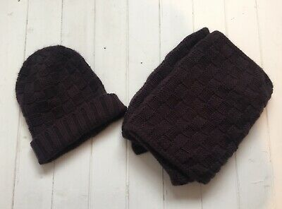 Men's 100% Cashmere Chunky Knit Hat And Scarf Set | Checkered