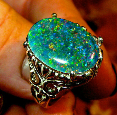Opal Stone Silver Woman Man Ring Wedding Engagement Moon White Size6-10 925 Fire