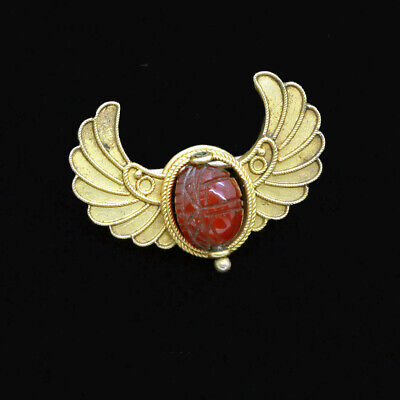 Antique Egyptian Revival Brooch 14k Gold Carnelian Swivelling Scarab (6849)