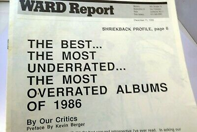 Ward Report December 1986 Best Underrated Albums Progressive Radio Rock Charts