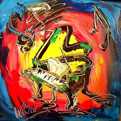 JAZZ PIANO  Abstract Oil Painting   Original Canvas SIGNED BY KAZAV CANADA