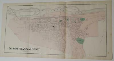 1872 Susquehanna County PA HAND-COLORD MAP OF SUSQUEHANNA DEPOT,OWNERS,RRs,RIVER