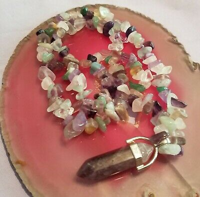 Wow - New Handcrafted Unique Mixed Gemstone Necklace With Amethyst & Fluorite