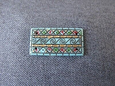 Antique Czech Max Neiger Bros egyptian revival turquoise glass cab applique  #3