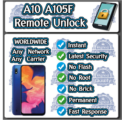 Remote Unlock Service Samsung A10 A105F A105FN A105G A105N A105M Real Instant!