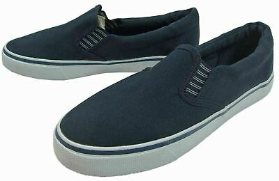 *SALE* Boys Deluxe Canvas Textile Yachting Beach Deck Slip On Shoes  Navy Size 3
