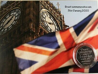 COINS NOW IN STOCK BIG BEN BREXIT 50P COIN mounted on unique  Brexit background