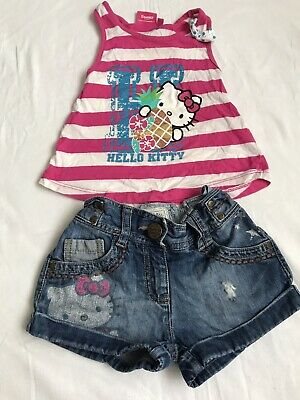 Hello Kitty Summer Outfit Vest Denim Shorts Age 2-3 4