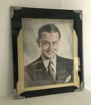 Vtg Art Deco Machine Age Easel Back Reverse Painted Picture Frame Robert Young