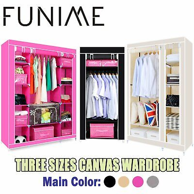 Multiple colors Canvas Wardrobe With Hanging Rail Clothes Storage Cupboard