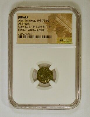 The Biblical Widow's Mite - Bronze Prutah 103-76 BC Certified Authentic by NGC