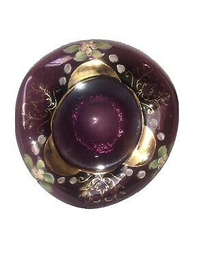 Vintage Mid Century Ashtray Hand Blown Purple Bohemian Art Glass Hand Painted