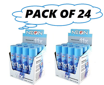 24 cans Neon 11x Filtered Butane Ultra Premium Refined Refill Lighter Cans 300mL