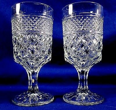 2 Anchor Hocking Clear Glass WEXFORD Water Goblets - Set of Two