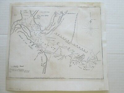 """1827 Blunt's Chart  """"Doboy Sound & Sapello Island""""  9-1/8"""" Wide By 7-1/8"""" Tall"""