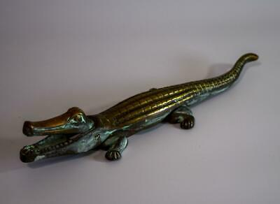 1930s Solid Brass Crocodile Nutcracker / Doorstop 38cm Art Deco Vintage Figurine