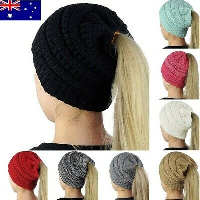 Women Girls Winter Warm Knitted Cap Ponytail Beanie Tail Stretchy Hat Gift - AU