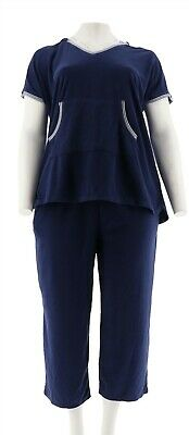 Carole Hochman Baby Terry 2-Pc Lounge Set Navy L NEW A302169