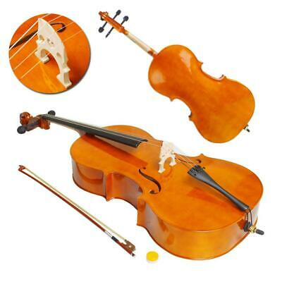 New High Quality Cello 3/4 Bass Wood Natural Color + Bag +Bow+ Rosin+ Bridge