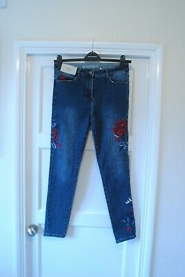 Next Blue Embroidered Skinny High Rise Jeans. Size  12R UK 40 EUR. BNWT.