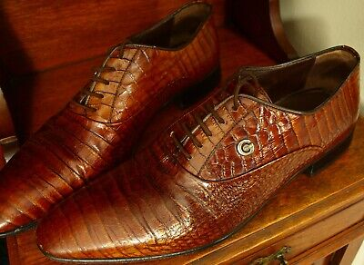 Mens Made in Italy Genio Faux Crocodile Skin Leather Shoes Size 41 Uk 7 Slim