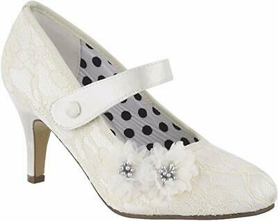 Ladies Ivory Mid Heels Petal Lace Satin Shoes Mary Jane Bridal Wedding Shoes 3-8