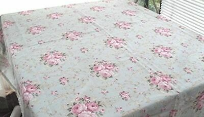 """VTG PALE BLUE TABLECLOTH PINK CABBAGE ROSE CLUSTERS LACE EDGING 52"""" x 88"""""""