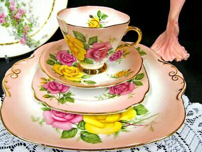 Windsor tea cup and saucer trio with cake plate pink blush 3 rose pattern teacup