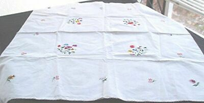 Vtg White Cotton Linen Tablecloth Table Topper Hand Embroidered Flowers