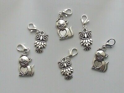 Owl and Pussy Cat Stitch Markers Holders Knitting Crochet Charms x 6