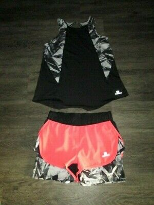 Girls Domyos Running Vest And Shorts Black/Grey Age 10-11 Yrs Vgc