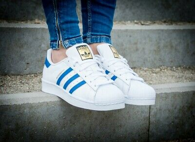 Adidas Originals Superstars Trainers  Boys Girls Uk Sizes White Blue