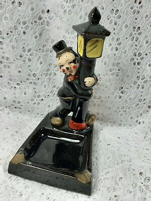 Vintage CLOWN BY LAMP POST ASHTRAY JAPAN Black Ceramic Charlie Chaplin Hobo TCF
