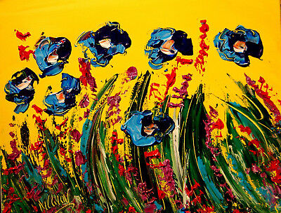 BLUE FLOWERS by Mark Kazav  Abstract Modern CANVAS Original Oil Painting NR34T