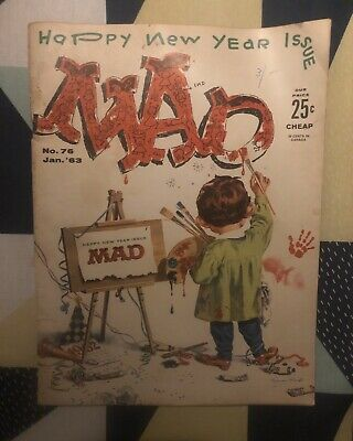 "Rare! ""MAD"" Happy New Years Issue. No 76. Jan 1963'"