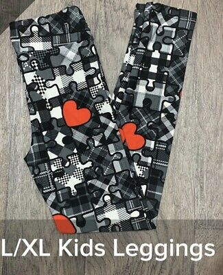 NWT Lularoe Love Story Valentines Leggings Kids L/XL 2020 Puzzle Pieces Hearts