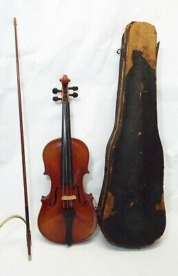 Old Antique ONE PIECE FLAME BACK 3/4 VIOLIN w/ Case & German Bow