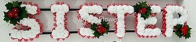 SISTER Artificial Silk Funeral Tribute Any 6 Letter Name Flower Wreath MUM