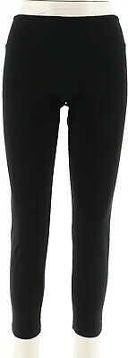 Women with Control Petite Tummy Control Knit Ankle Pants Black PL NEW A286521