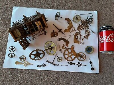 Large Antique Brass 4 Chime Clock Mechanism Plus Lots of Spares Hands Cogs etc