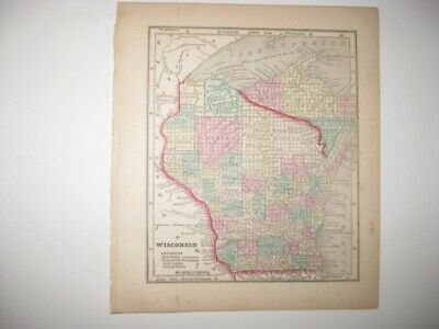 Rare Early Antique 1857 Wisconsin Handcolored Map Milwaukie Madison Railroad Nr