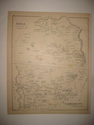 Antique 1892 Hill Canterbury New Hampshire Map Detailed Rare Fine Nr