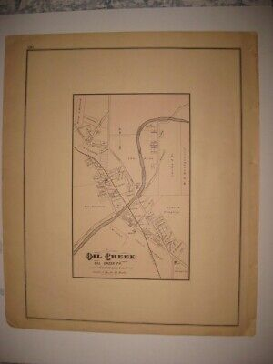 Antique 1876 Spartansburg Oil Creek Crawford County Pennsylvania Handcolored Map